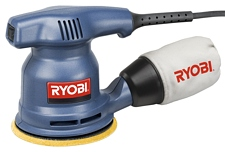 Ryobi\'s Random orbit sander RS241, 12,000 orbits per minute, accomplishes nice finish work, 2.4 amp motor, little vibration, comfortable to handle, comfortable to use, weighing 3 pounds, sanding pad, pressure sensitive sandpaper, accessory for hook-and-loop paper, dust collection system, cloth dust bag, spin control brake, vinyl power cord